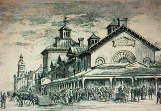 Gravure d'un bâtiment affiché «St Anne market marché st Anne» et d'une foule animée.