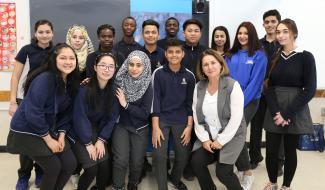 Miranda Mata et ses élèves, classe d'accueil, école secondaire Saint-Laurent