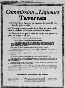 Annonce publiée par la Commission des Liqueurs du Québec concernant les règles à suivre par les taverniers à l'égard de la vente d'alcool.