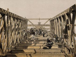 Lithographie montrant des ouvriers travaillant sur le tube central du pont Victoria.