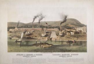 Gravure publicitaire représentant l'atelier de marine du Canada, avec la cale sèche et le chantier naval, incluant la scierie, le hangar à voiliers et l'atelier de chaudronnerie.