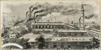 Illustration montrant les bâtiments de la Montreal Rolling Mills.