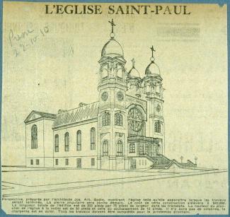 Dessin de la façade d'une église, accompagné d'un texte énonçant son projet de construction imminente.