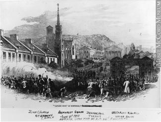 Gravure en noir et blanc d'une scène violente à l'extérieur. Presque au centre, on voit une église.