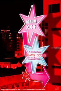 Affiche de l'événement Forum XXX. Une enseigne en néon formée d'étoiles annonce l'événement avec un arrière-plan d'édifices en hauteur noir et rouge.