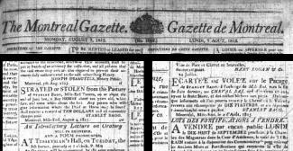 Annonce de journal faite par Stanley Bagg le 4 août 1815