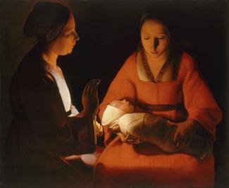 Peinture montrant un nouveau-né dans les bras de sa mère et une femme à leurs côtés