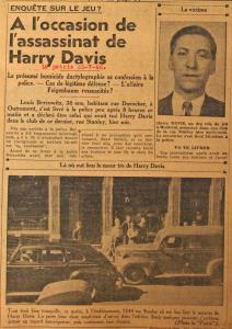 Coupure d'un journal qui parle de l'assassinat de Harry Davis avec une photo de la victime et une du 1244, rue Stanley, lieu du meurtre.