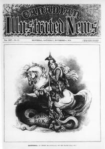 Caricature du maire William Hales Hingston en chevalier saint Georges terrassant le dragon de la variole.
