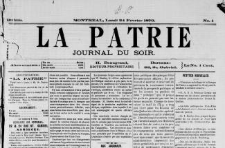Premier numéro du journal La Patrie (24 février 1879).
