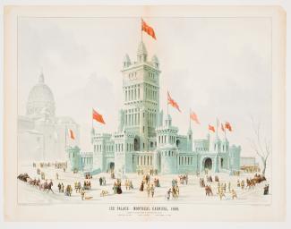 Illustration du palais de glace anticipé par Hutchison, portant l'inscription «Ice palace - Montreal carnival, 1889».