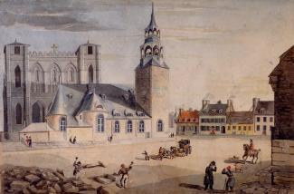 Aquarelle montrant la place d'Armes avec les deux églises Notre-Dame, l'ancienne devant et la nouvelle derrière