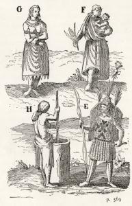 Illustrations représentant diverses tenues traditionnelles de Hurons et de Huronnes
