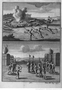 Illustration de 1724 de prisonniers amérindiens.