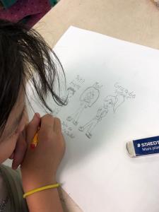 Une jeune fille dessine sa famille sur une feuille.