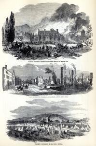 Trois dessins montrant les lendemains du grand incendie de 1852