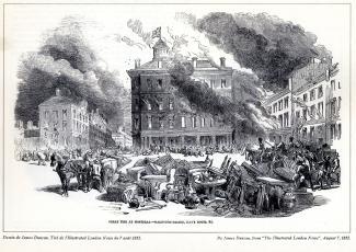 Dessin montrant des maisons en feu et des meubles au milieu du square Dalhousie