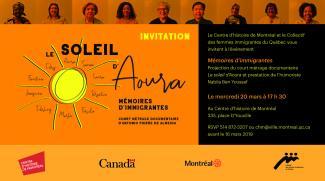 Invitation à l'événement Mémoires d'immigrantes le 20 mars 2019