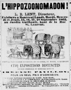 Publicité pour le cirque Hippozoonomadon, au Jardin Guilbault en septembre 1862