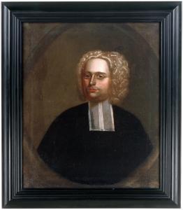 Peinture montrant le portrait d'un homme portant une perruque et une tenue noire.
