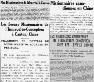! Ces quatre articles du Devoir documentent les réalités de la mission à Canton et les nouveaux départs de religieuses vers la Chine, en mentionnant l'importance de Délia Tétreault.