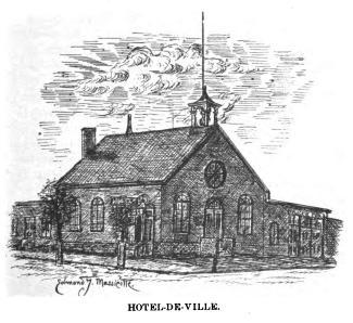 Illustration montrant le premier hôtel de ville de Sainte-Cunégonde