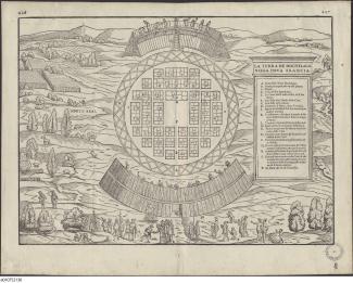 Interprétation imaginée du village d'Hochelaga par un cartographe italien du 16e s. à partir des descriptions de Jacques Cartier.