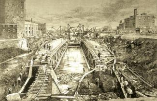 Illustration représentant l'agrandissement du canal Lachine dans les années 1870.