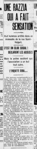 Article en page 7 de La Presse du 5 août 1916 s'intitulant Une razzia qui a fait sensation
