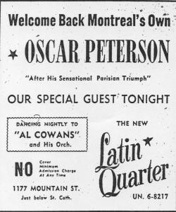 Publicité du Latin Quarter annonçant Oscar Peterson en spectacle