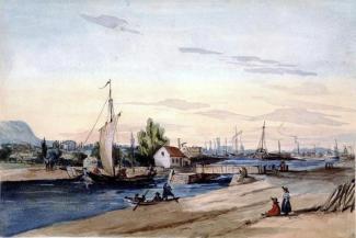 Illustration du canal Lachine avec de nombreux bateaux.