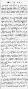 Article du journal Le Courrier du Canada en 1879 portant le titre Raquette et patins