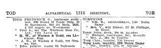 Détail d'une page de l'annuaire Lovell mentionnant Frederick G. Todd