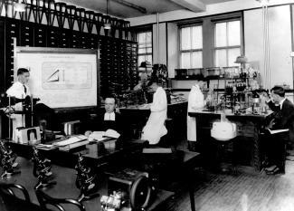 Photographie du frère Marie-Victorin (au centre) et d'hommes dans le laboratoire.