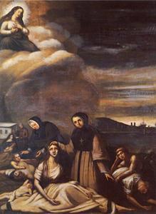 Peinture religieuse illustrant des victimes du typhus