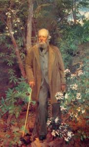 Portrait de Frederick Olmsted parmi des feuillages.