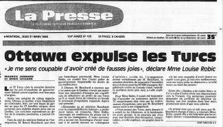 Une du journal La Presse le 31 mars 1988. On annonce l'expulsion des Turcs.