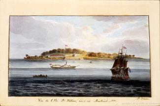 Aquarelle de James Duncan montrant l'île Sainte-Hélène
