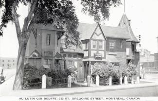 Carte postale montrant le restaurant Au lutin qui bouffe après les travaux du milieu des années 1940.