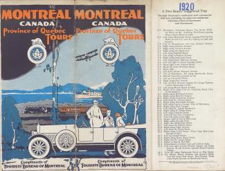 Couverture d'un guide touristique de Montréal de 1920 avec une illustration montrant de l'avant-plan à l'arrière-plan : une voiture, un train et un bateau sur le fleuve.