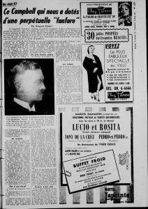 Page d'une revue montrant une photo floue en noir et blanc du profil d'un homme d'âge moyen.