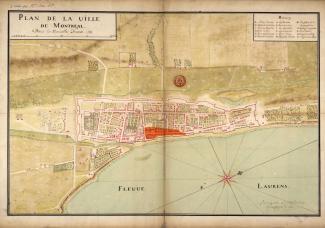 Plan de Montréal en 1731 montrant la zone incendiée le 10 avril 1734