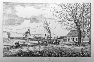 Dessin montrant le site de Pointe-Claire en 1867 avec un moulin et une maison sur le bord de l'eau.