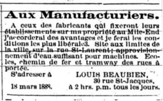 Annonce de journal de Louis Beaubien pour ceux qui voudraient s'établir sur sa propriété du Mile End.