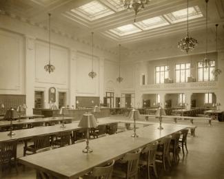 Vue de la salle de lecture de la Bibliothèque Saint-Sulpice.