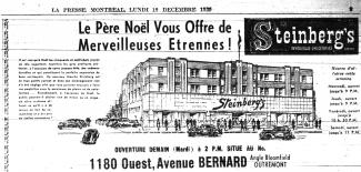 Publicité de Steinberg de la succursale de la rue Bernard à Montréal dans le journal La Presse.