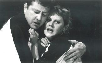 Sylvie Potvin et Robert Gravel lors d'un match de la LNI en mai 1988