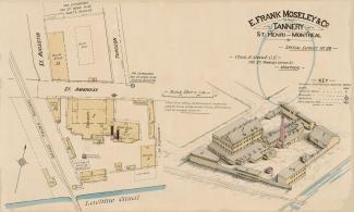 Plan d'assurance couleur montrant les bâtiments de la tannerie Moseley