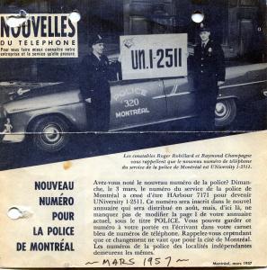 Feuillet pour faire connaître le nouveau numéro pour la police de Montréal comportant une photo et du texte.