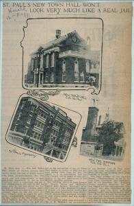 Coupure de presse ancienne incorporant trois photographies d'édifices.